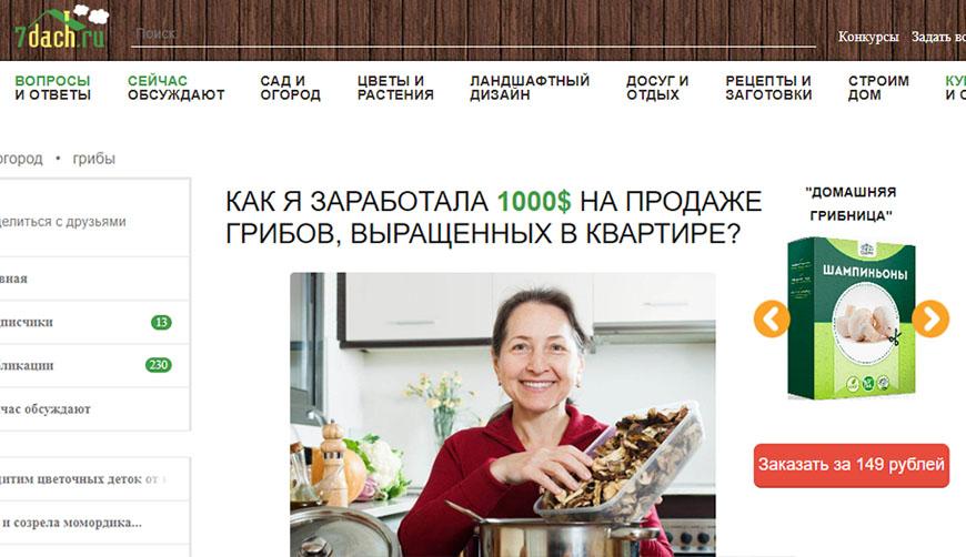 Липовая статья о том, как женщина заработала 1000$ на выращивании грибов в квартире