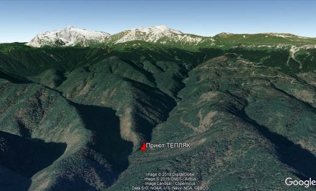 Приют Тепляк, примерное расположение на карте Google Earth
