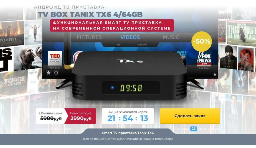 Функциональная SMART TV приставка TANIX TX6 4/64GB. Осторожно! Обман!!!