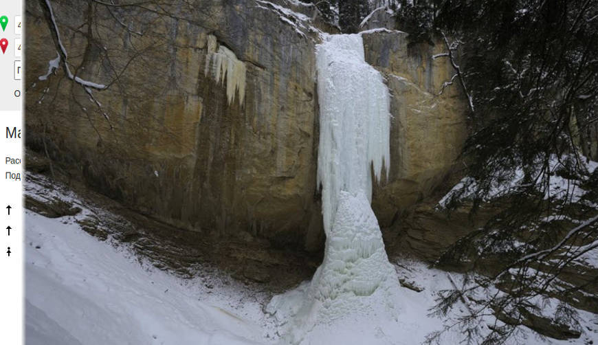 Водопад Капустинский в зимнее время года